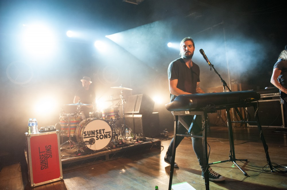Lead singer Rory Williams, Bassist Pete Harper and drummer Jed Laidlaw of English-Australian band Sunset Sons performing at a sold out show at Scala, King's Cross,  London, England, UK on Tuesday 12th May 2015. The band have been listed as one of The BBC's Sound of 2015.